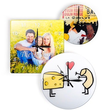 Wall clocks with your family photographs, vintage clocks and modern clocks that you design.