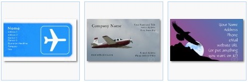 airplane flight business cards