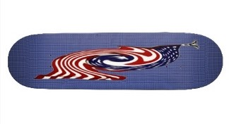 A silver eagle at the head of the stars and stripes of the flag of the USA flowing and whirling around like a tornado in the center of this skateboard deck. An impression of speed and skill, what every skateboarder wants from his or her deck.