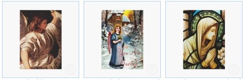 Angel and Virgin Mary Christian themed invitation cards for Christmas
