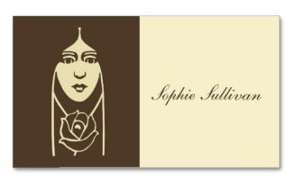 Art Deco Long Haired Girl With Rose for beauticians, beauty salons and fashion designers