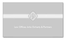 Classic business card design with scales of justices centered on a band of white against a background of light gray for attorneys, lawyers and the legal profession.