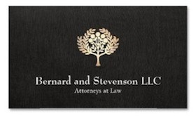 Classic, elegant business card design with simple border and realistic digital image of rich black linen background. Digital image of gold leaf illustration of fruit or olive tree for lawyers, attorneys and the legal profession.