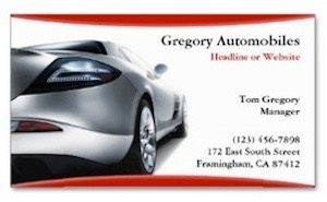 A modern business card for professionals in the automobile industry featuring a fast car and a professional look.
