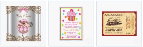 babyshower invitation card, cupcake birthday party and train ticket
