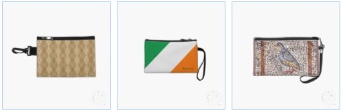 argyle diamonds pattern, irish flag and ancient Greek mosaic with a bird on Bagettes makeup and cosmetic bags