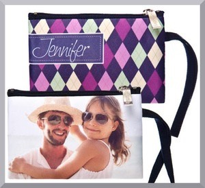 bagette coin purse, wristlet and cosmetics and makeup bags that you can personalize