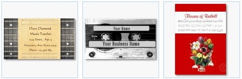 banjo music audio tape business cards