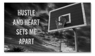A business card for basketball players or coaches, featuring a basketball hoop and the text 'Hustle and Heart Sets Me Apart'. Customize front and back