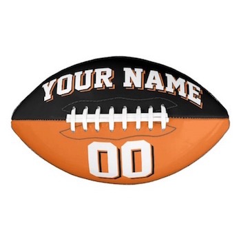 Two Color Black And Orange Customisable American Football - Personalize with your name and number
