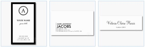 black and white business cards monogram plain