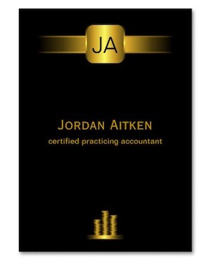 black and gold coins business card for cap accountants and financial services