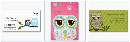 blue owl brown owl floral business card