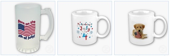 born on the fourth of july beer glass puppy and flag of USA mug