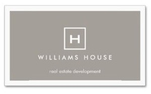 Your initial on a business card in a simple open box set on a taupe background. Shown here for real estate professionals but suitable for a variety of businesses.