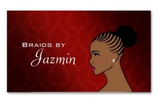 business card for hair stylists and hairdressers who work with braids and plaits, Mini Braids,Micro Braids,Gel Twists,Fishtail Braids,Dukie Twists,Box Braids,Dreadlocks,Pixie Braids,Jumbo Cornrows,Criss Cross Braids