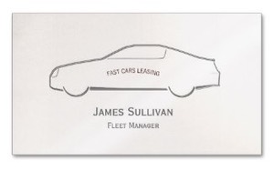 Simple but elegant business card for senior managers and executives in the automobile industry with the outline of a modern car chassis and ideal for car salesmen, car dealerships and vehicle leasing.