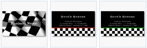 checkered flag, auto garage mechanic business card