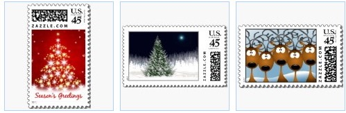 christmas tree, silent night and reindeer stamps
