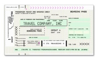 This unique design features an eye-catching boarding pass business card for your travel related business.