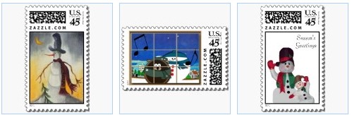 cute snowman postage stamps