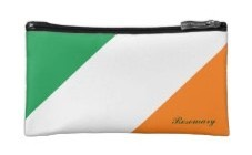 cosmetic or makeup bag for ladies with an Irish heritage, colors of the flag of Ireland in green, white and orange diagonal stripes. Add the personal touch with your name on it.