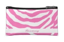 hot pink zebra stripes on a cosmetics bag for girls. Add your name to it to personalize.