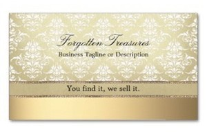 Elegant vintage golden look damask pattern on luxurious Ultra-Thick Premium card stock business card with golden background. Ideal  for antique shops, vintage boutiques, fine photographers and beauticians