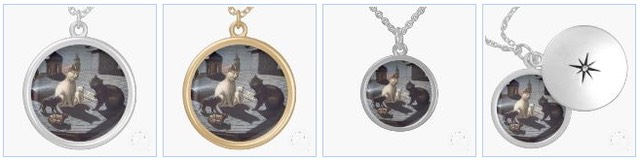five singing cats necklace locket silver gold