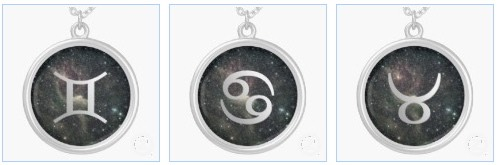 gemini cancer taurus zodiac star sign universe sterling silver necklaces