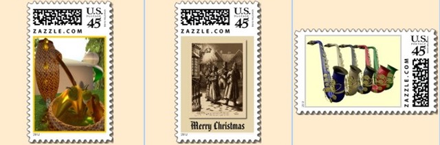 postage stamp, US Postage, stamp, postal, post, mailing, custom stamp, abstract art, christmas stamp, victorian christmas, saxophone stamp, music stamp