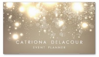 A business card for the event planner and wedding planner with golden sheen and bright starburst effect conveying a theme of celebration and success with every event you organize.
