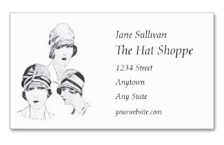 Modelled ladies hats fashionable in the 1920's on both front and back of a business card