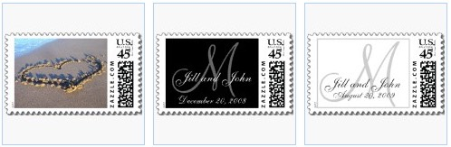 heart in the sand beach stamps and monogram wedding postage