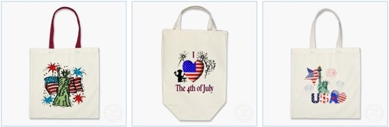 July 4th Lady Liberty Canvas Bag, I Heart 4th July, USA Tote Bags and Independence Day Canvas Tote Bags