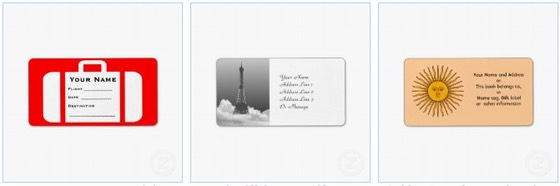 Sheets of Avery labels as luggage tag,  eiffel tower name and address labels and sunshine stickers