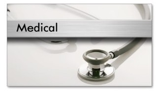 Medical business card with stylish modern design featuring a doctor's stethoscope on a brushed metal surface