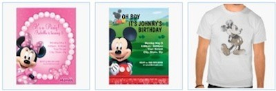 minnie mouse on pink and white girls birthday party invitation card, mickey mouse boys birthday card, and a vintage mickey mouse t-shirt