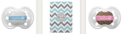 monogram chevron baby pacifiers bibs and blankets