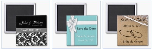 damask save the date magnet, blue gift box with ribbon save the date magnet, and save the date written in sand on a beach