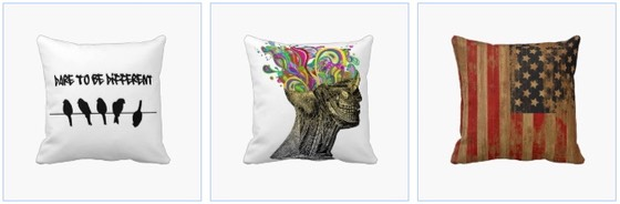 birds dare to be different pillow, skull and rainbows pillow, grunge US Flag pillow