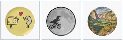 macaroni and cheese plate, dinosaur on bicycle to moon, yosemite park plate