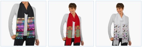 tribal aztec pattern scarf, cool owl and cute cats scarves