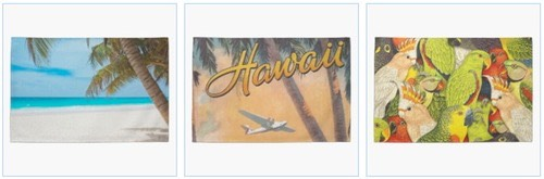 tropical beach kitchen towel, vintage hawaii towel, green parrots towel