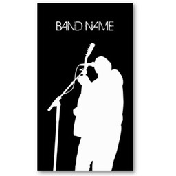 Musician Guitarist Singer Band Business Card with artist silhouetted in white against black