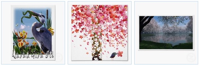Never give up with blue heron on a poster, a cherry tree in blossom, and a sakura landscape poster.