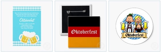 Oktoberfest party invitations, pin buttons and funny stickers to celebrate the event