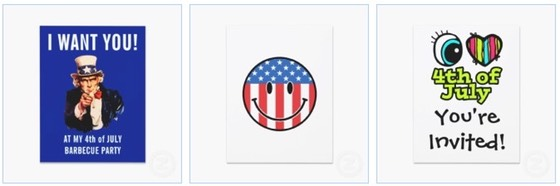 patriotic smiley face I heart 4th July Funny Invitations