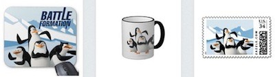 penguins of madagascar battle formation on mousepad coffee mug and stamps