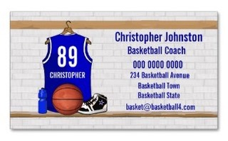 Basketball Sports business card with a blue basketball jersey hanging in a locker room with a basketball , basketball sneakers and a drinks bottle.